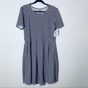 LuLaroe Amelia Black/White Striped Dress XL